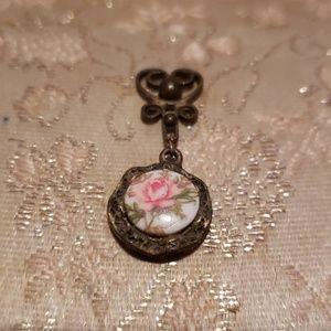 Antique Victorian handpainted pendant